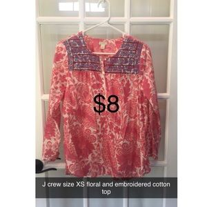 J Crew floral & embroidered cotton blouse size XS
